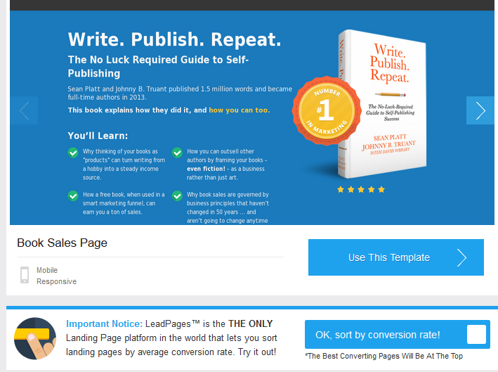 LeadPages choose sales pages