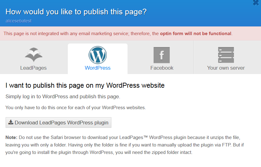 LeadPages how to publish