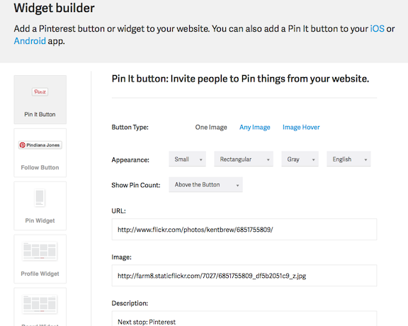 Pinterest takes you to this customization page