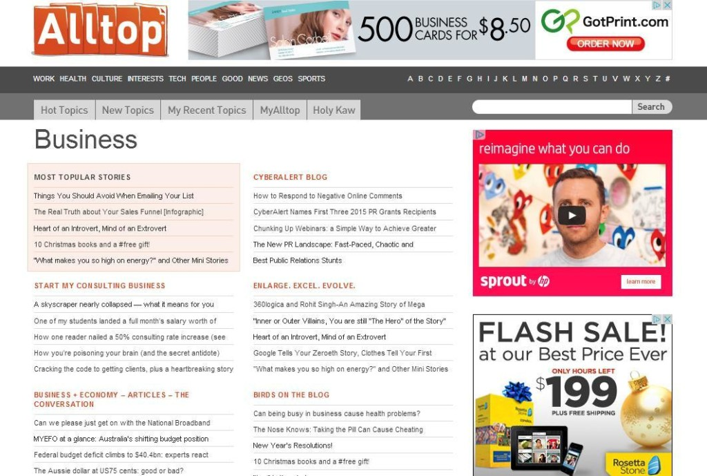 a snapshot of what Alltop's business section looks like