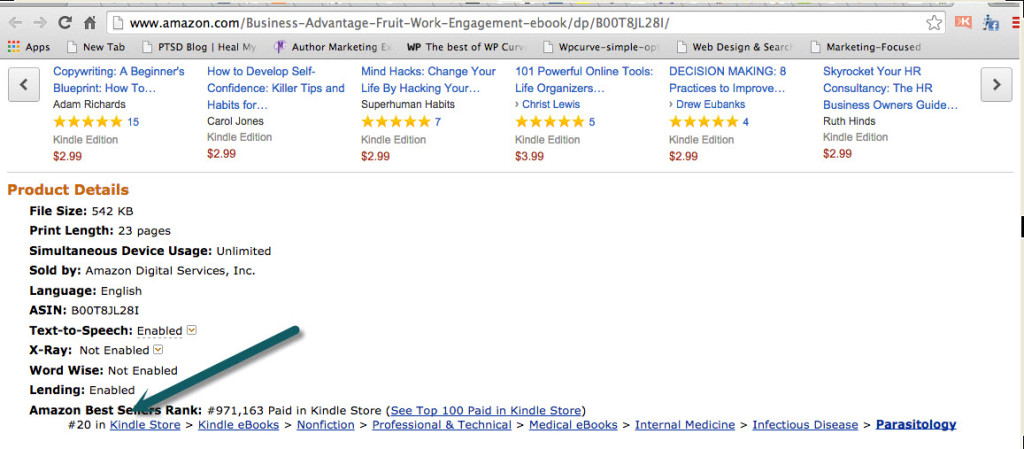Amazon ranking one week after publishing. 6 Book Marketing Tips to Beat eBook Competition on Amazon