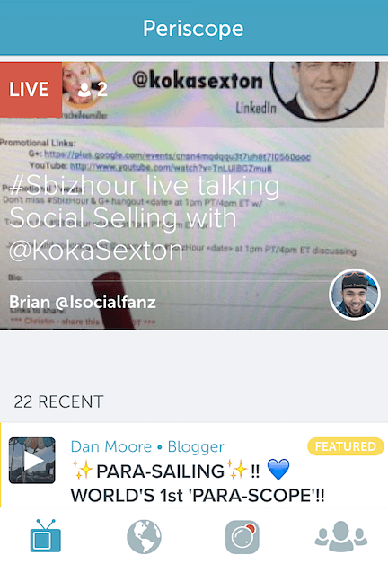 Live broadcasts will appear in a feed like this one, or you can do a search on the Global icon or on Twitter with the #Periscope hashtag: