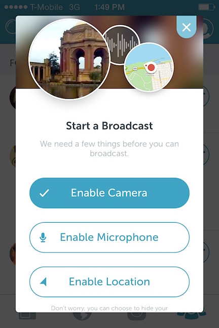 Once you are ready to create your own broadcast, simply tap the record button next to the globe icon and begin: Susangilbert.com